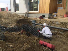 里山住宅博街区工事20号地アースワークの設置